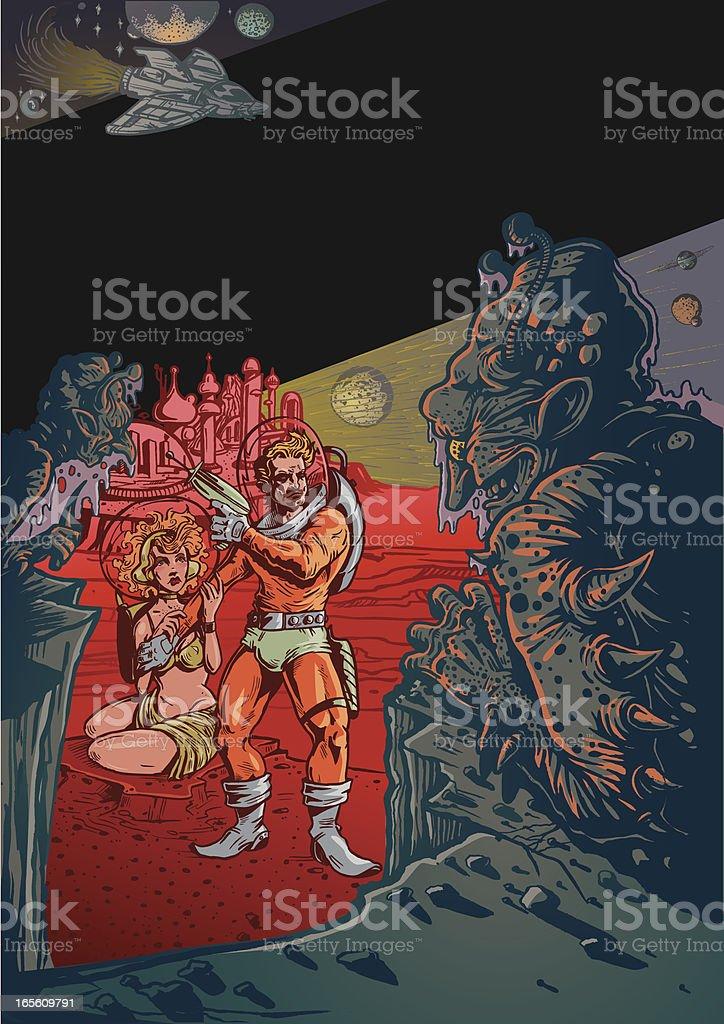 Paisaje de ciencia ficción Vintage con Aliens y hombre en el espacio - ilustración de arte vectorial