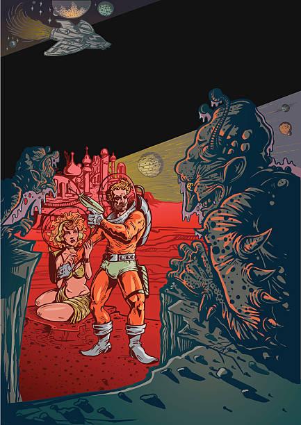 vintage-science-fiction-szene mit aliens und mann im raum - cartoon monster stock-grafiken, -clipart, -cartoons und -symbole