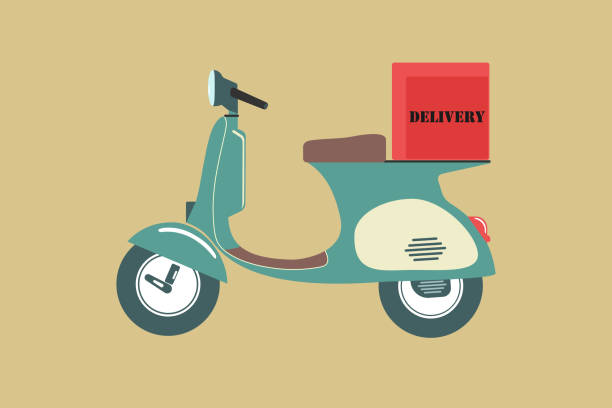 Vintage scooter vintage color  icon vector on color background, icons for Transportation delivery and Vintage motorbike vector art illustration