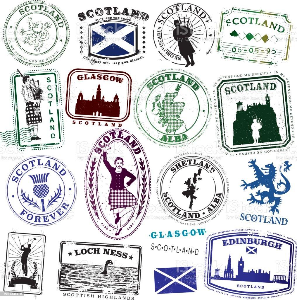 Vintage Scottish Stamp Collection vector art illustration