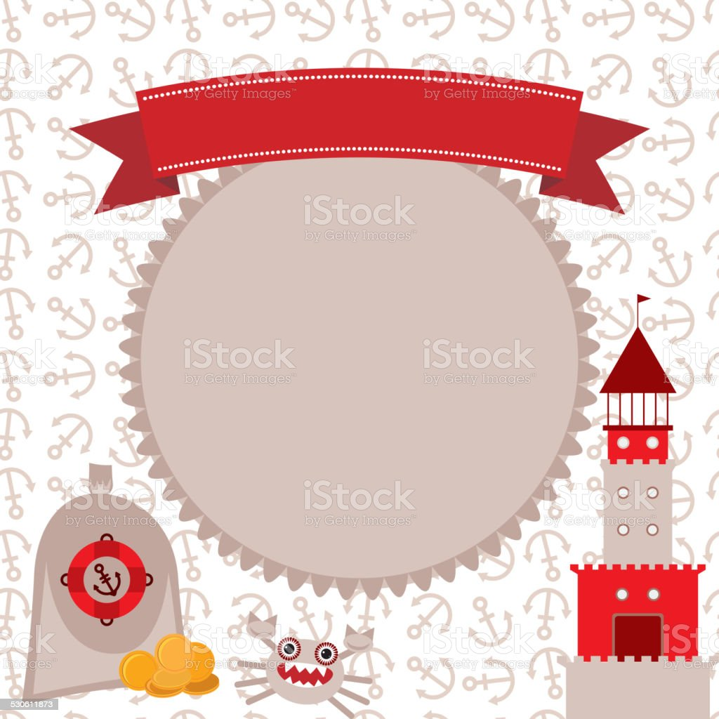 Vintage scrap nautical card cute sea objects collection Red, gray vector art illustration