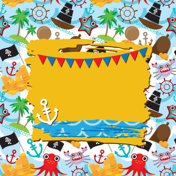 stockillustraties, clipart, cartoons en iconen met vintage scrap nautical card frame, anchor pattern sea animals, pirates. - newspaper beach