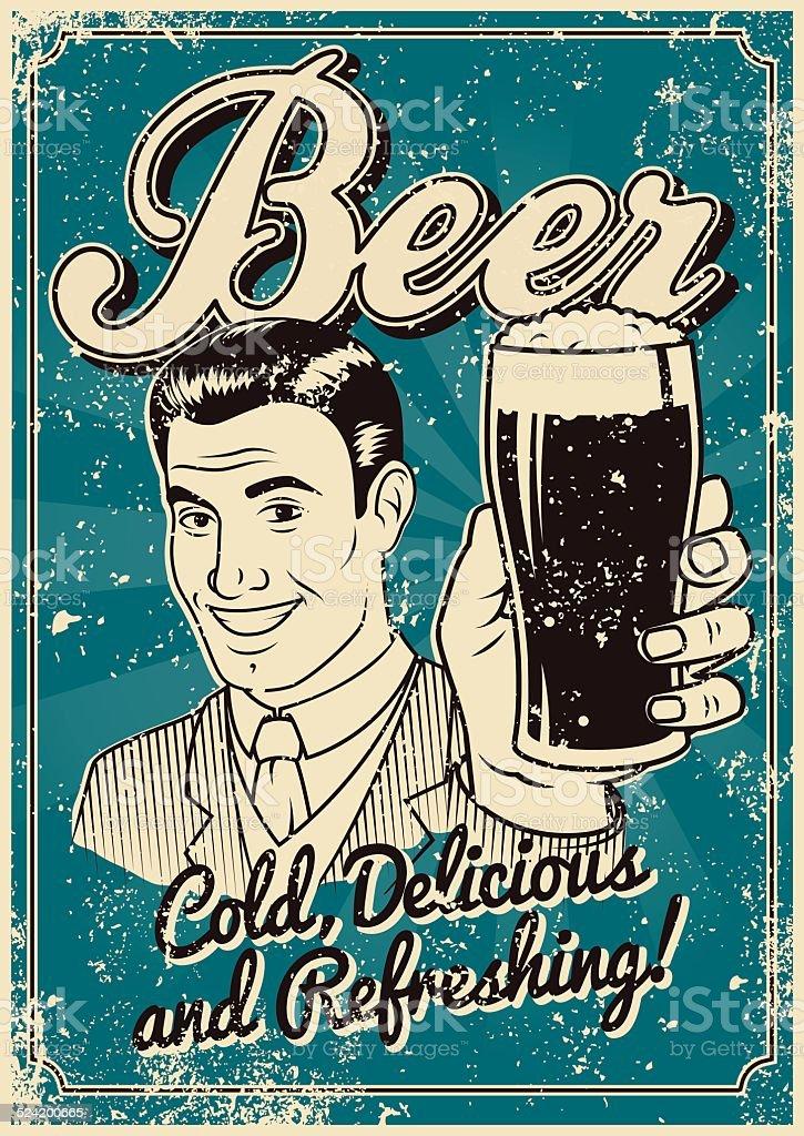 Vintage Screen Printed Beer Poster vector art illustration