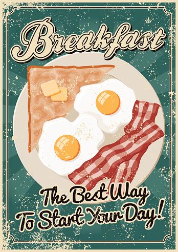 Vintage Screen Printed Breakfast Poster