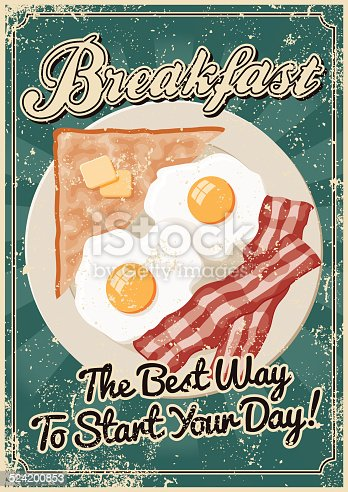 A vintage styled breakfast poster with a screen printed texture. The texture is on its own layer so it's easy to remove.