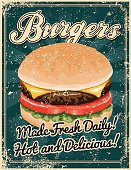 A vintage styled burger poster with a screen printed texture. The texture is on its own layer so it's easy to remove.