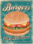 Vintage Screen Printed Burger Poster