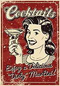 A vintage styled cocktail poster with a screen printed texture. The texture is on its own layer so it's easy to remove.