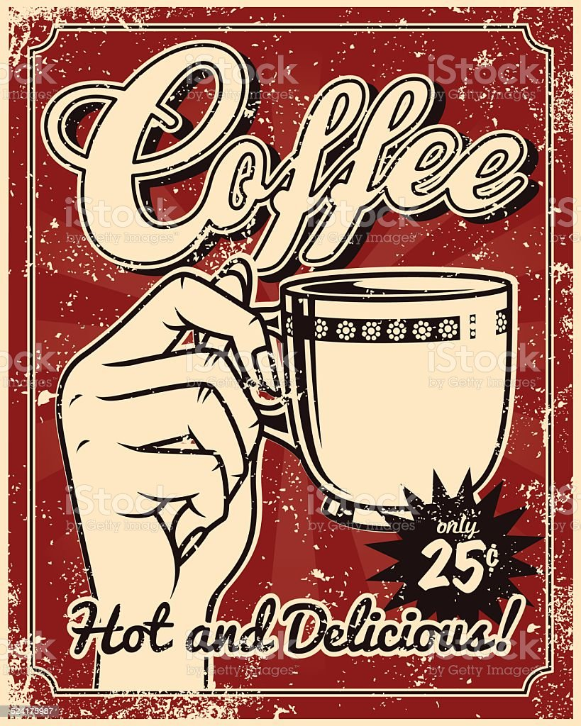 vintage screen printed coffee poster stock vector art more images