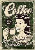 A vintage styled coffee poster with a screen printed texture. The texture is on its own layer so it's easy to remove.