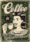Vintage Screen Printed Coffee Poster