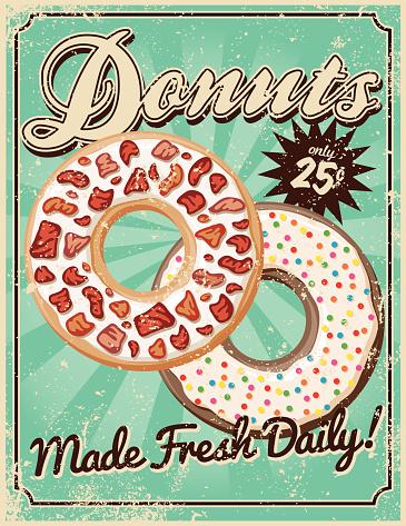 Vintage Screen Printed Donuts Poster