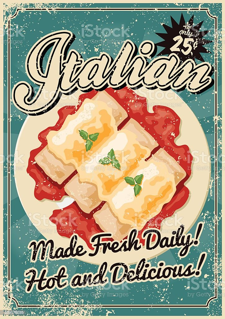 Vintage Screen Printed Italian Food Poster A vintage styled Italian food poster with a screen printed texture. The texture is on its own layer so it's easy to remove. Cannelloni stock vector