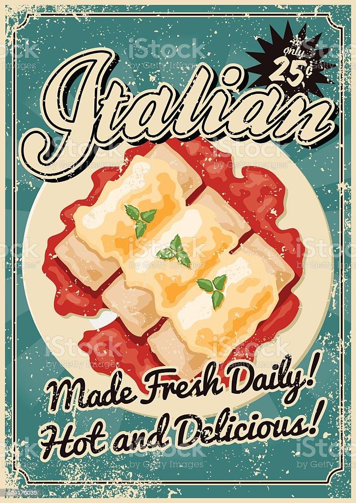 ビンテージのスクリーンプリントのイタリア料理のポスター ベクターアートイラスト