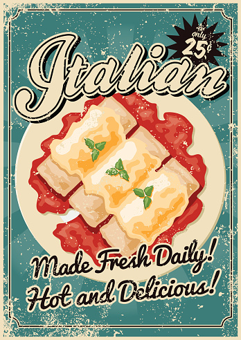 Vintage Screen Printed Italian Food Poster Stock Illustration - Download Image Now