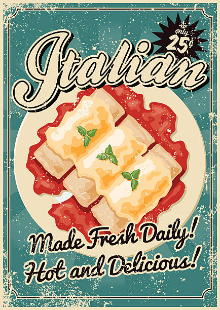 Vintage Screen Printed Italian Food Poster A vintage styled Italian food poster with a screen printed texture. The texture is on its own layer so it's easy to remove. cannelloni stock illustrations