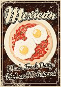 A vintage styled Mexican food poster with a screen printed texture. The texture is on its own layer so it's easy to remove.