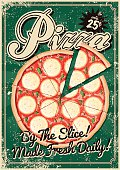 A vintage styled pizza poster with a screen printed texture. The texture is on its own layer so it's easy to remove.