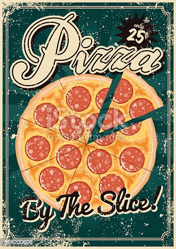istock Vintage Screen Printed Pizza Poster 524200605