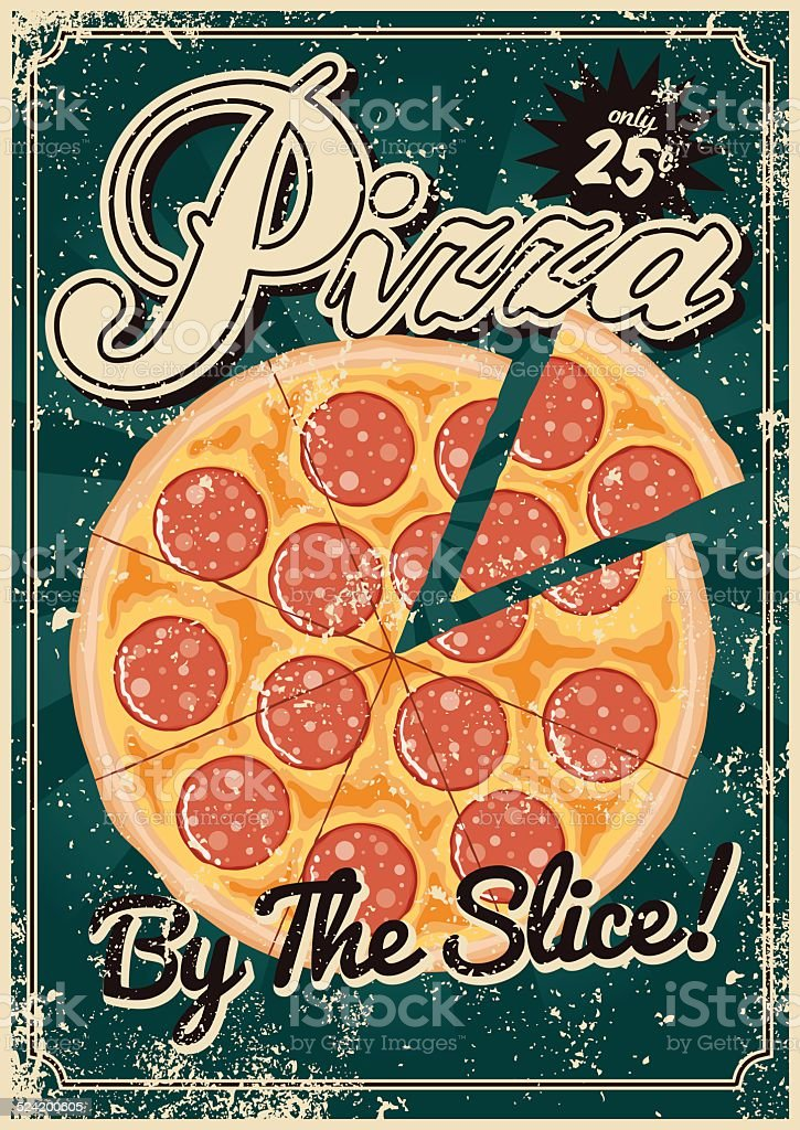 Vintage Screen Printed Pizza Poster vector art illustration