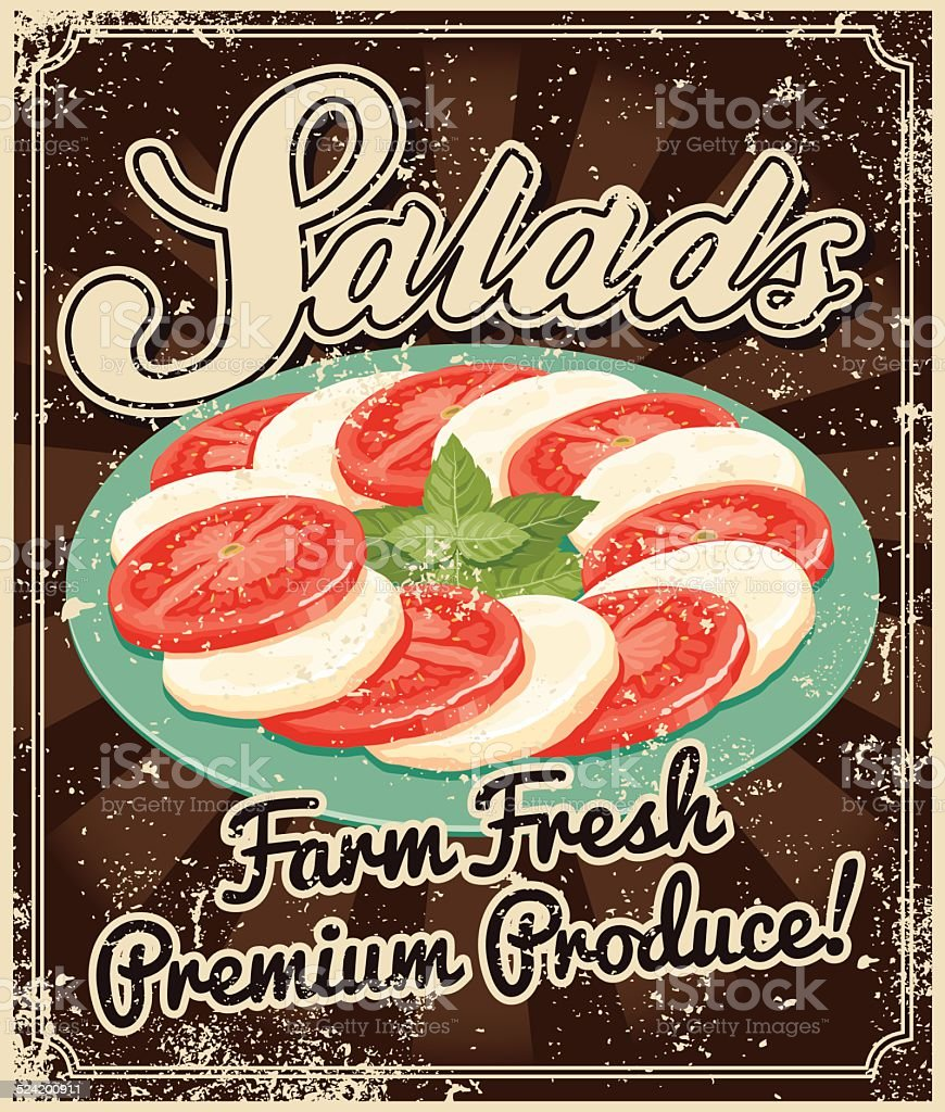 Vintage Screen Printed Salad Poster vector art illustration