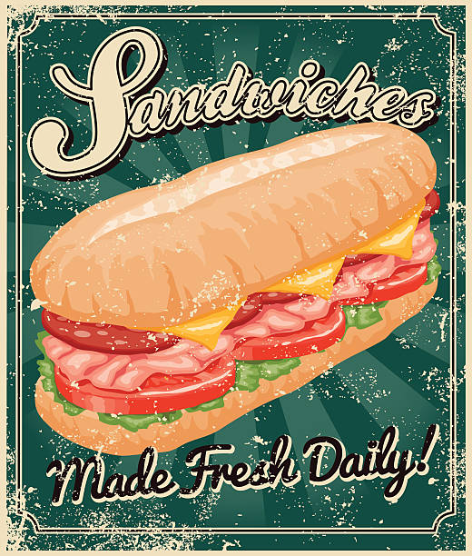 vintage screen printed sandwich poster - sub sandwich stock illustrations, clip art, cartoons, & icons