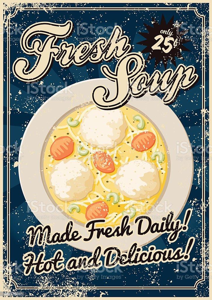 Vintage Screen Printed Soup Poster vector art illustration