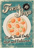Vintage Screen Printed Soup Poster