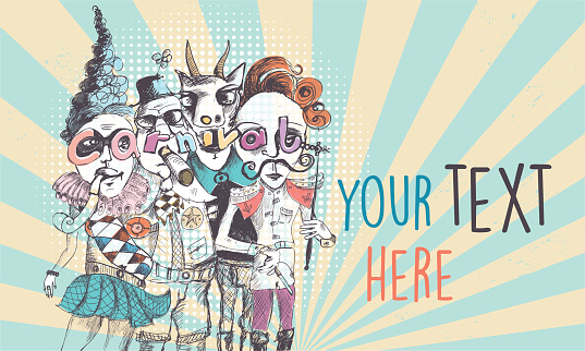 vintage scribbled surreal carnival people background with copy space for your text
