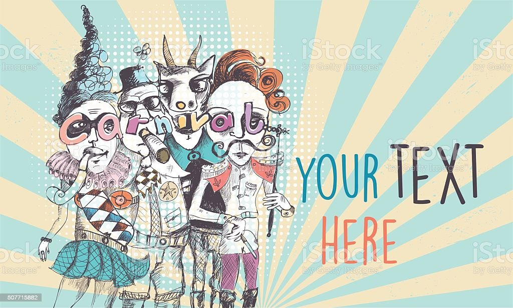 vintage scribbled surreal carnival people background vector art illustration