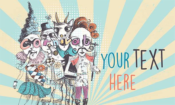 vintage scribbled surreal carnival people background vector art illustration
