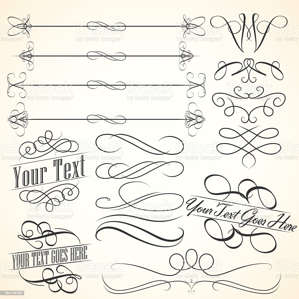 Vintage scroll elements borders and frames stock vector
