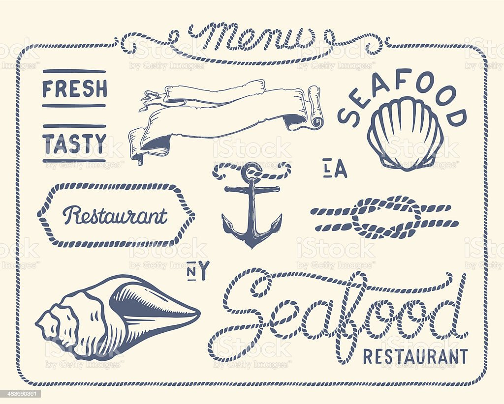 Vintage seafood restaurant collection royalty-free stock vector art