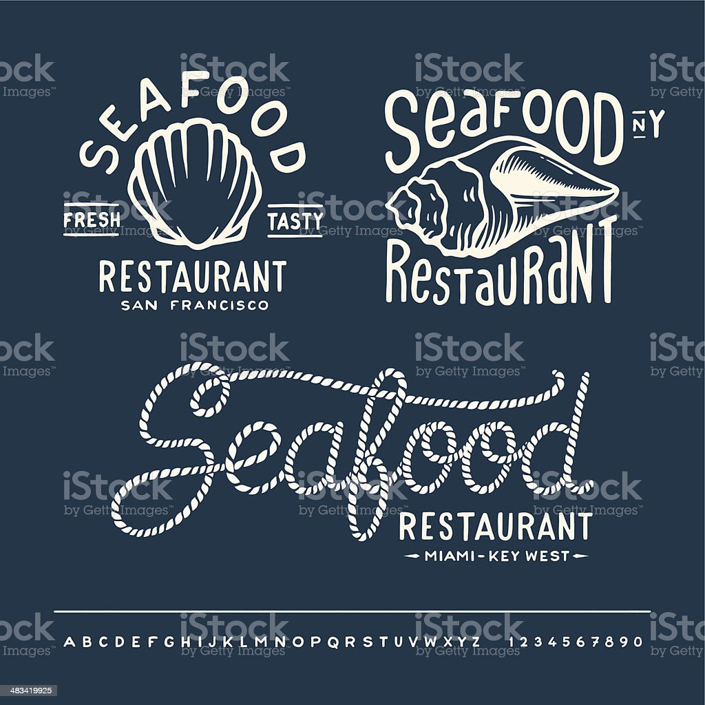 Vintage Seafood Restaurant Layout With Handwritten Alphabet Stock Illustration Download Image Now Istock