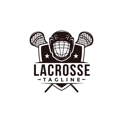 Vintage seal badge lacrosse sport with crossed lacrosse stick, shield and helmet vector icon on white background