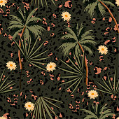 Vintage  seamless animal prints pattern with tropical plants and leopard prints. Vector illustration  design for fashion,fabric,paper, wallpaper, cover, Interior decor and all prints on dark green background color