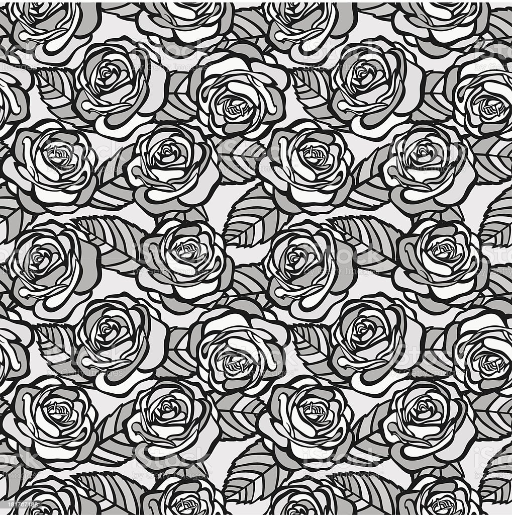 Vintage seamless background of gray roses royalty-free stock vector art