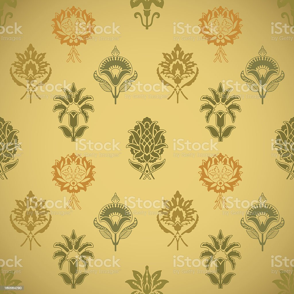 Vintage seamless background pattern with flowers royalty-free stock vector art