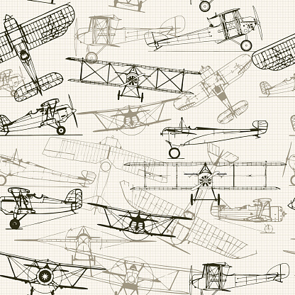 Vintage  seamless background. Stylized airplane illustration composition. t