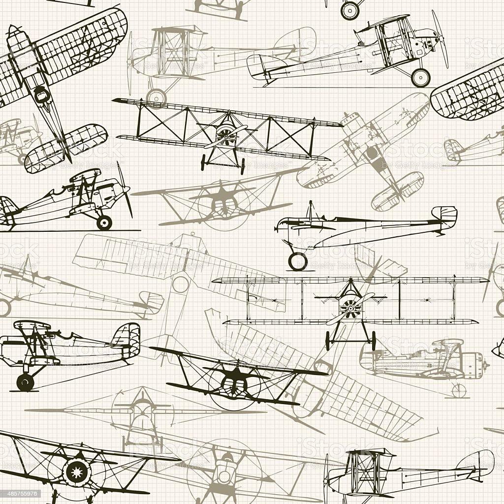 Vintage fondo sin costuras. Ilustración estilizadas avión composition. t - ilustración de arte vectorial