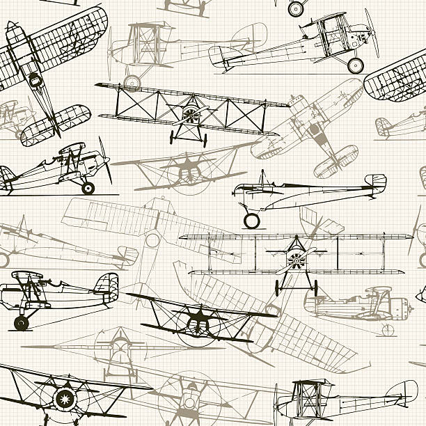 Vintage  seamless background. Stylized airplane illustration composition. t Vintage  seamless background. Stylized airplane illustration composition. texture of graph paper can be turned off. Can be used for wallpaper, pattern fills, web page background,surface textures.  aviation and environment summit stock illustrations
