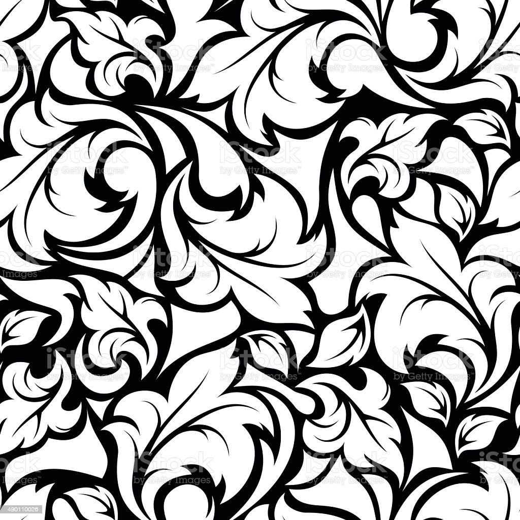 Vintage Seamless Black And White Floral Pattern Vector Illustration Royalty Free