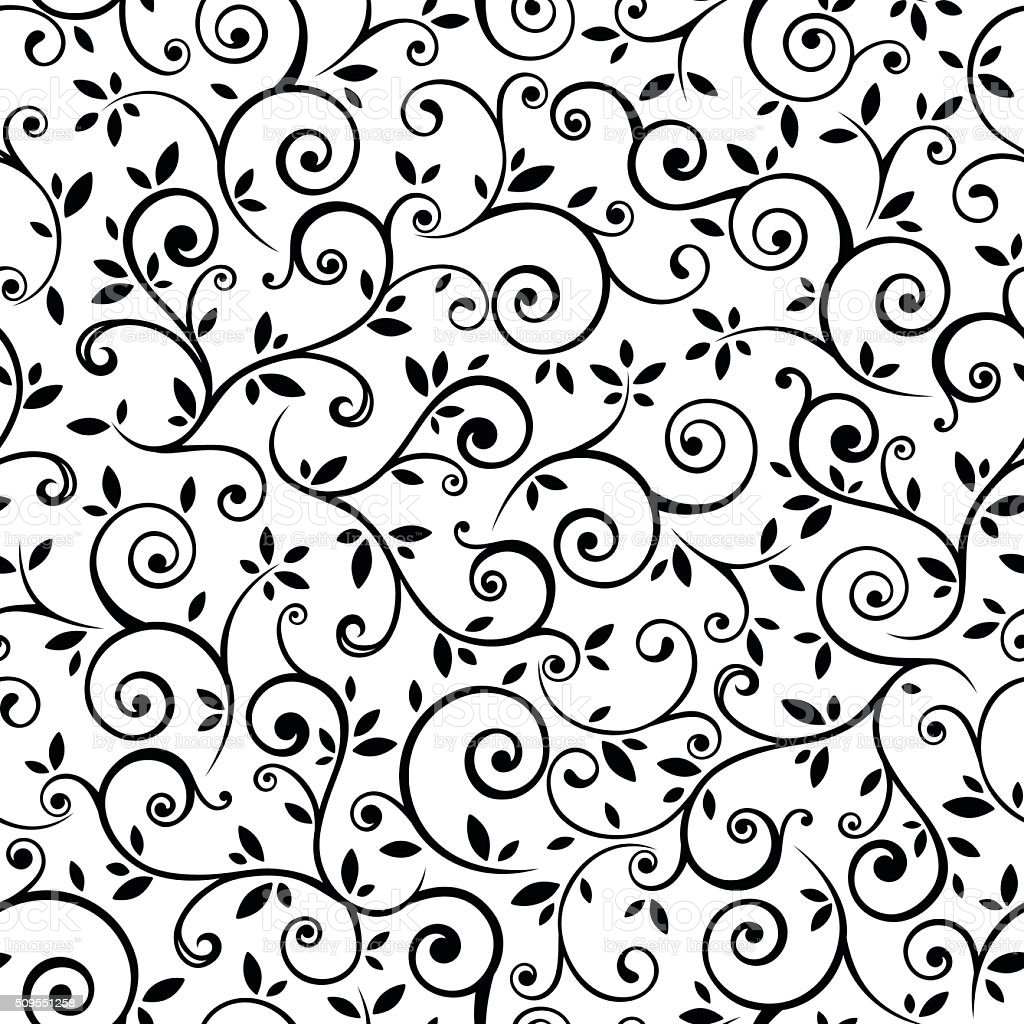 Black Flower And Bud Pattern Royalty Free Stock Photos: Vintage Seamless Black And White Floral Pattern Vector