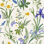 istock Vintage seamless floral pattern. 1222171350