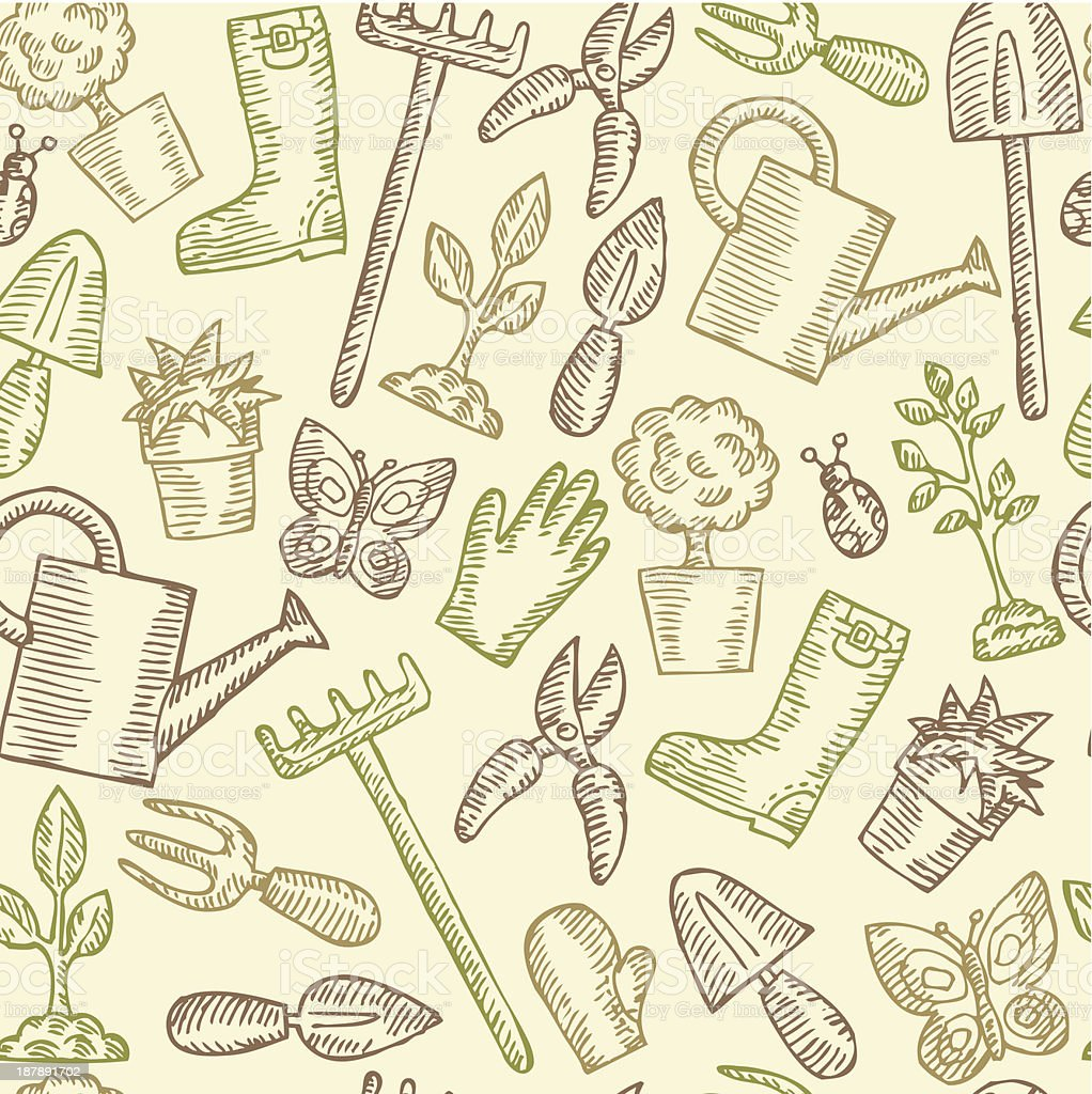 Vintage Seamless Garden Pattern royalty-free vintage seamless garden pattern stock vector art & more images of agriculture