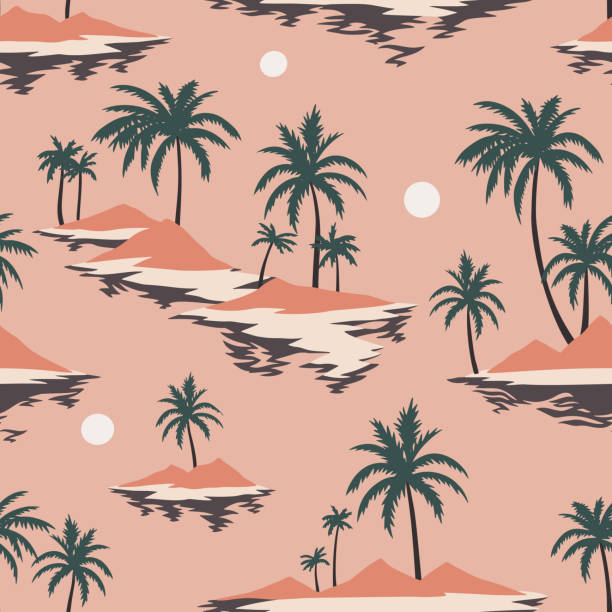 Vintage seamless island pattern. Colorful summer tropical background. Landscape with palm trees, beach and ocean Vintage seamless island pattern. Colorful summer tropical background. Landscape with palm trees, beach and ocean. Flat design, vector. Good for textile, fabric, t-shirt, wallpaper, wrapping. idyllic stock illustrations