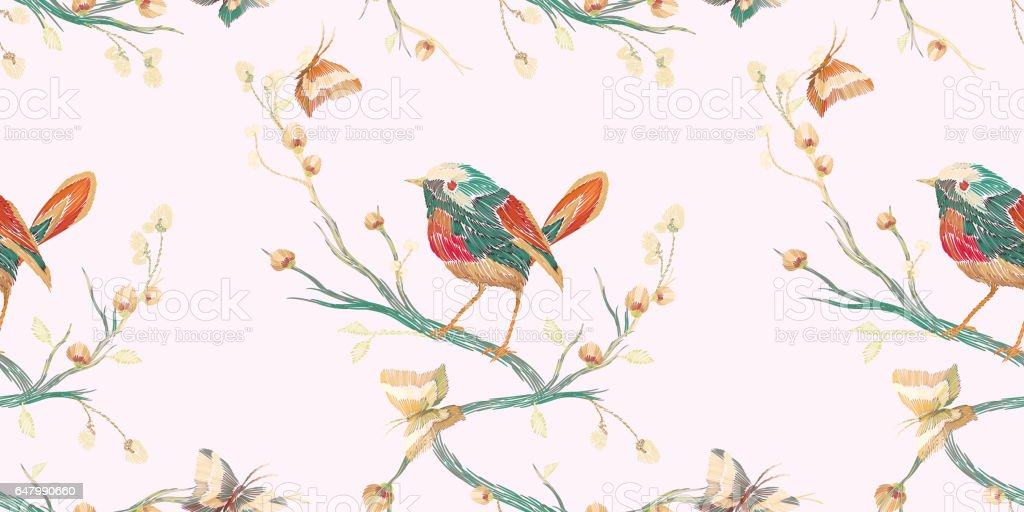 Modele Sans Couture Vintage Oiseaux Papillons Et Fleurs Cliparts