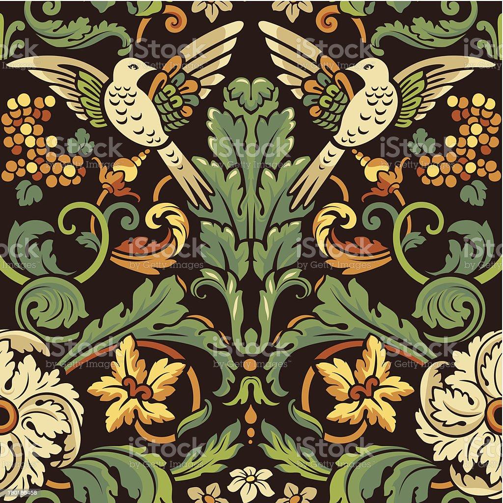 Vintage seamless pattern. Birds in flowers vector art illustration