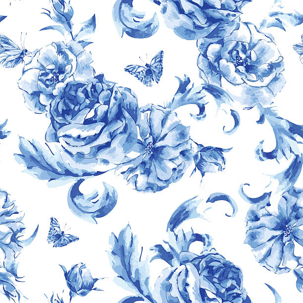 bildbanksillustrationer, clip art samt tecknat material och ikoner med vintage seamless pattern blue roses and butterflies - flower bouquet blue and white