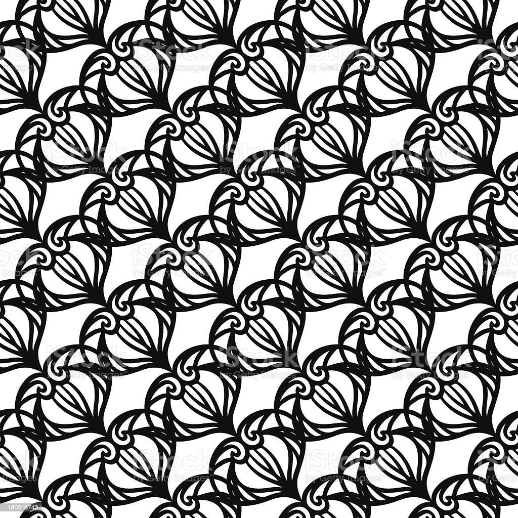 Vintage seamless pattern in black and white royalty-free stock vector art